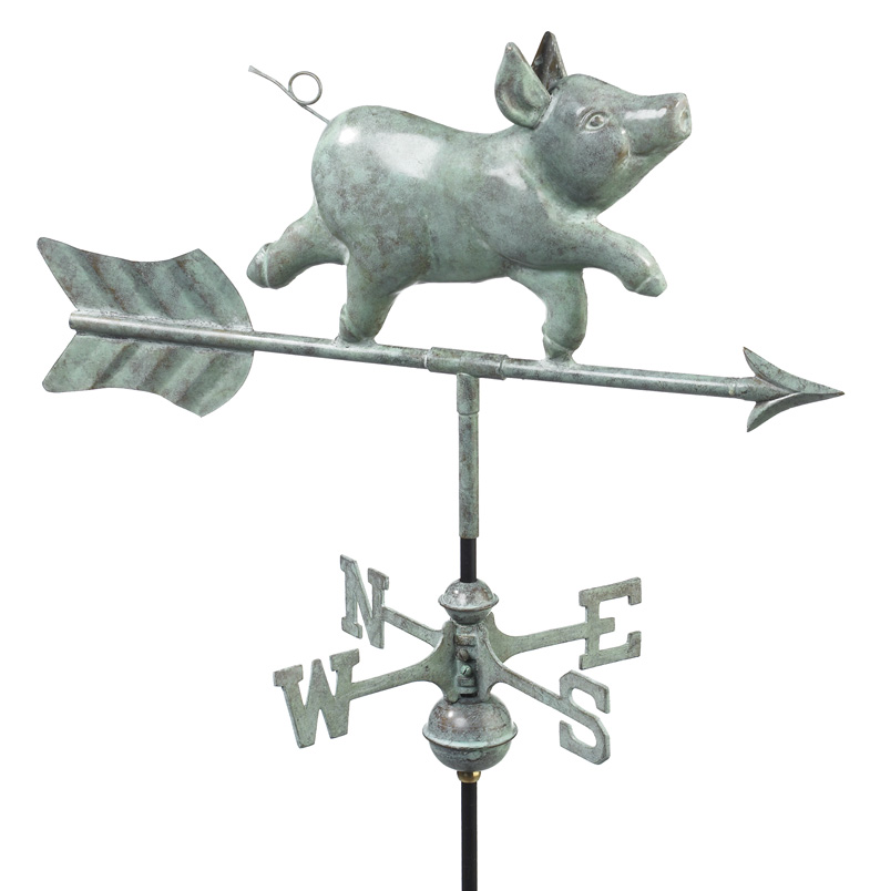 Whimsical Pig Cottage Weathervane