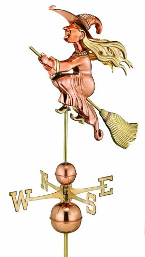 Polished Copper Witch Estate Size Weathervane - Discontinued