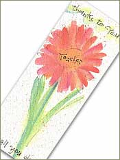 Teacher Thanks Bookmark with Raffia