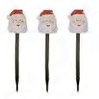 3 Solar Santa Holiday Garden Lights by Solar Celebrations