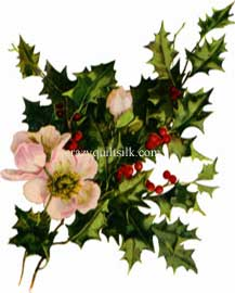 "Victorian Image Fabric Applique Embellishment, Holly Blooms 3"" x 3.75"""