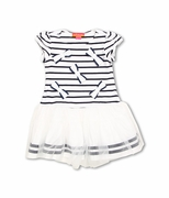 Kate Mack Infant - Toddler Girls Navy Blue Striped Seaside Petals Nautical Sailor Dress with White Skirt Portion Sizes 2T - 4T