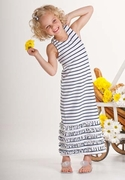 Kate Mack *Seaside Petals* - Navy Blue Striped Maxi Dress Sizes 8 - 12
