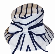 Kate Mack *Seaside Petals* - Navy Striped Hat- Only 1 Left