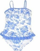 Kate Mack *Cote D'Azur* Sky Blue Floral w/Sky Blue Polka Dot Skirted 1 Piece Swimsuit- SOLD OUT!