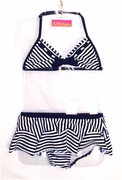 "Kate Mack ""Good Ship Lollipop"" Navy Striped & Skirted 2 Piece Swimsuit  Size 6 only"