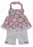 Kate Mack *Leopard & Roses* Bike Short & Swing Top 2 Piece Set-Sizes 12M Left Only!