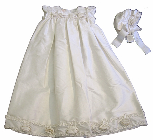 "Biscotti ""Precious Heirloom""White Gown & Bonnett 2 Piece Baptismal/Christening Set"