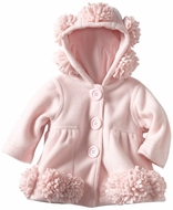 Kate Mack *Left Bank* Beautifuul Pink Hooded Polar Fleece Coat - Sizes  3m- 24m