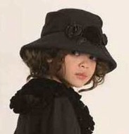 "Kate Mack * ""Coat Couture"" Black Wool Hat*  7 to 12"