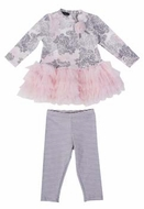 Kate Mack *Belle Epoque* Pink & Grey Stunning Floral Tunic & Pink Legging
