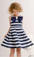 Biscotti Dresses *All Decked Out* Navy/White Stripe  Bow Front Dress Sizes 5 & 6 Left Only!