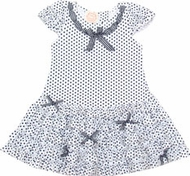 Biscotti Dress *Pretty Navy and White Polka* Sizes 6M to 3T
