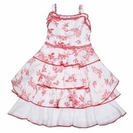 Biscotti Dress - Summer Red and White Toile- Only a size 2 left!