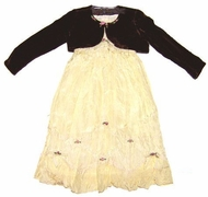 Biscotti Dresses- Ivory Dress with Brown Shrug 2-Piece Set- Sizes 9M to 4T