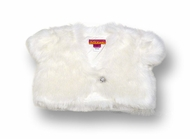 Kate Mack Girls' Dressy White Faux Fur Plush Shrug - Rhinestone Closure-