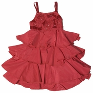 Biscotti Dresses- Ruffled Burgundy Red Taffeta Dress Sizes 5 & 6 Left Only!