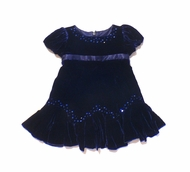 Biscotti Dresses - Rich Blue Velvet with Sequins. Sizes 9M to 3T