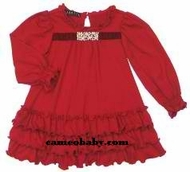 Biscotti Dresses *Little Gems* Red Knit Ruffle Dress with Jewel Embellishment- Sizes 9M to 4T