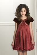 Biscotti Dresses *Florentine Gold* Burgundy Satin & Velvet Dress- Only a size 16 left!