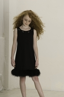 Biscotti Dresses *Chic Marabou* Fur-Trimmed Dress - Sizes 7 to 10