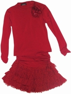Kate Mack *A Dozen Roses* Ruby Red Knit Tee & Ruffled Skirt 2-Piece Set Sizes 5-1 Left Only!