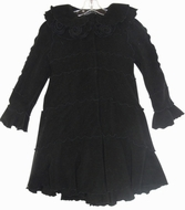 Biscotti Dresses  *Essential Coats* Black Polar Fleece Lettuce Edge A-Line Coat Size 12 Left Only!!