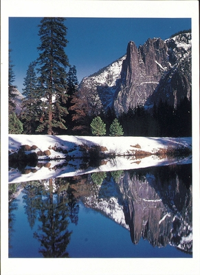 SENTINAL ROCK REFLECTS IN THE MERCED RIVER, YOSEMITE NATIONAL PARK, CA - HOLIDAY CARDS