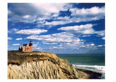 SOUTHEAST LIGHTHOUSE & OCTOBER CLOUDS, BLOCK ISLAND, RI
