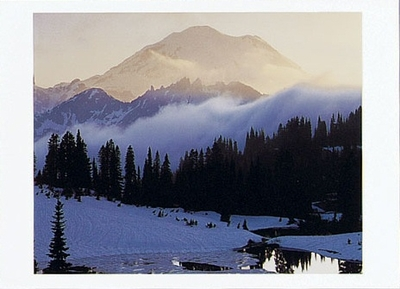 MOUNT RAINIER AT SUNSET FROM TISPOO LAKE, MOUNT RAINIER NATIONAL PARK, WA - HOLIDAY CARDS