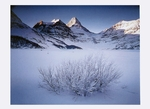 WINTER DAWN ON MOUNT ASSINIBOINE AND MOUNT MAGOG, MOUNT ASSINIBOINE PROVINCIAL PARK, BRITISH COLUMBIA - HOLIDAY CARDS