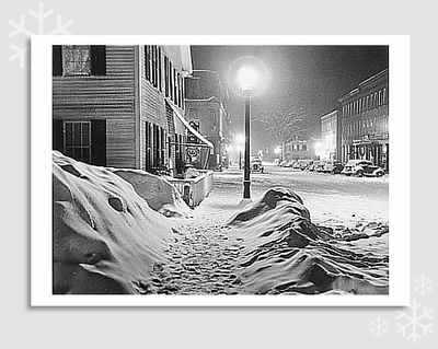 SNOWY NIGHT, WOODSTOCK, VT, 1940 - HOLIDAY CARDS