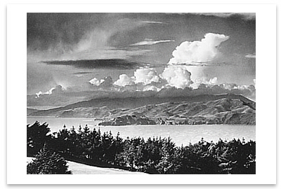 GOLDEN GATE HEADLANDS FROM LINCOLN PARK, SAN FRANCISCO, CA, c 1950