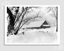 BARNYARD DURING BLIZZARD, BARNARD, VT, 1940 - HOLIDAY CARDS