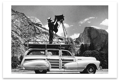 ANSEL ADAMS (ON A WOODY STATION WAGON)