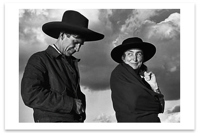 GEORGIA O'KEEFFE AND ORVILLE COX, CANYON DE CHELLY NATIONAL MONUMENT, AZ, 1937