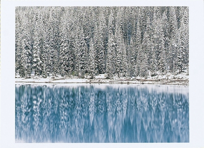 AUTUMN SNOWFALL ON MORAINE LAKE, BANFF NATIONAL PARK, ALBERTA, CANADA - HOLIDAY CARDS