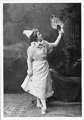 "MISS HALLIE HYDE (""SHOCKING! SHOWED MY ANKLE!""), STANFORD UNIVERSITY, c 1899"