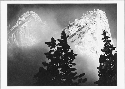 EAGLE PEAK & MIDDLE BROTHER, WINTER, YOSEMITE NATIONAL PARK, CA, c 1968