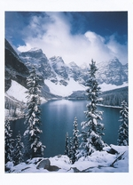 AUTUMN SNOWFALL ON MORAINE LAKE, ALBERTA