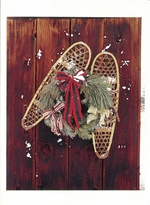 SNOW SHOES AND HOLIDAY WREATH ON BARN WALL, OWENS VALLEY, CA