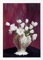 ANGELIQUE & WHITE TULIPS IN GREEN VASE