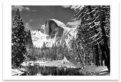 HALF DOME, MERCED RIVER, WINTER, YOSEMITE VALLEY, CA, c 1938