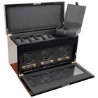 Wolf Savoy Triple Watch Winder with Storage and Travel Case � Burl  --