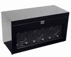Wolf Savoy Triple Watch Winder with Storage andTravel Case � Black --
