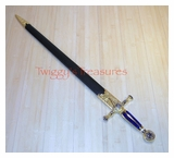Masonic Knight Templar Ceremonial Sword w/Scabbard SB 4915BL-B-PS