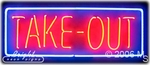 Take Out Neon Sign
