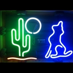 Coyote with Cactus & Moon Neon Sign