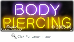 Body Piercing Neon Sign