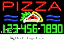 Pizza Neon w/Phone #